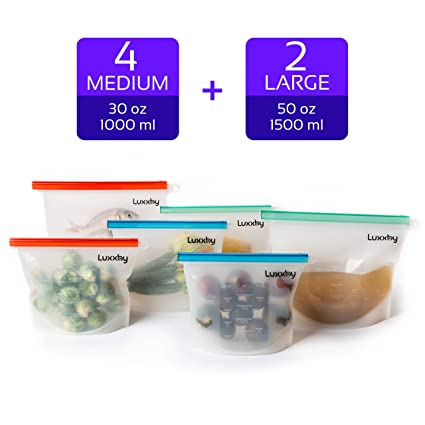 Buy Reusable Silicone Food Storage Bags Silicon Containers For Sandwich Liquid Snack Lunch Sous Vide Stasher Ziploc Bag Freezer Safe Dishwasher Safe Ziplock Bags Reusable 4 Medium 2 Large Online At Low Prices In