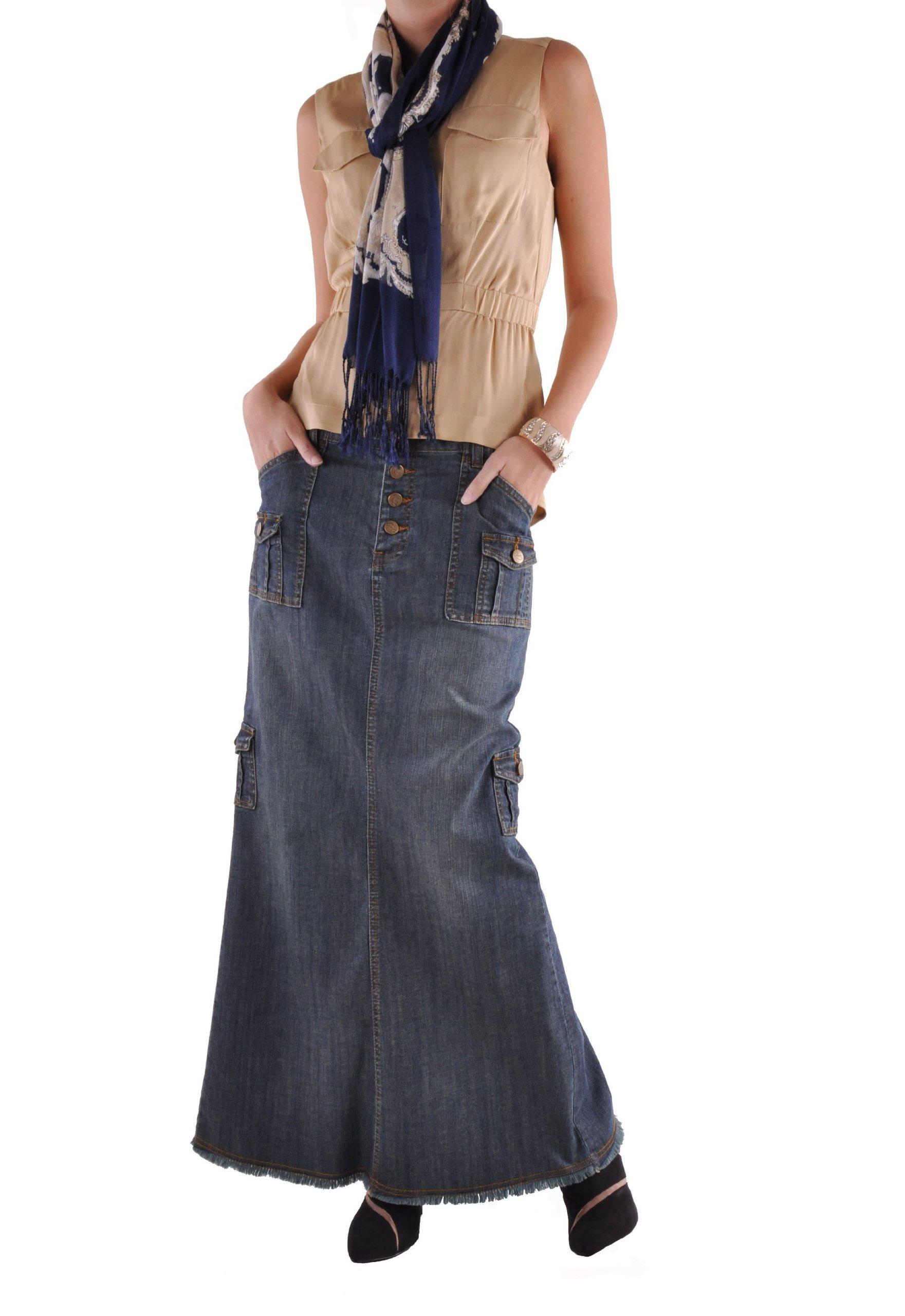 Style J Charming Cargo Long Denim Skirt-Blue-32(12)