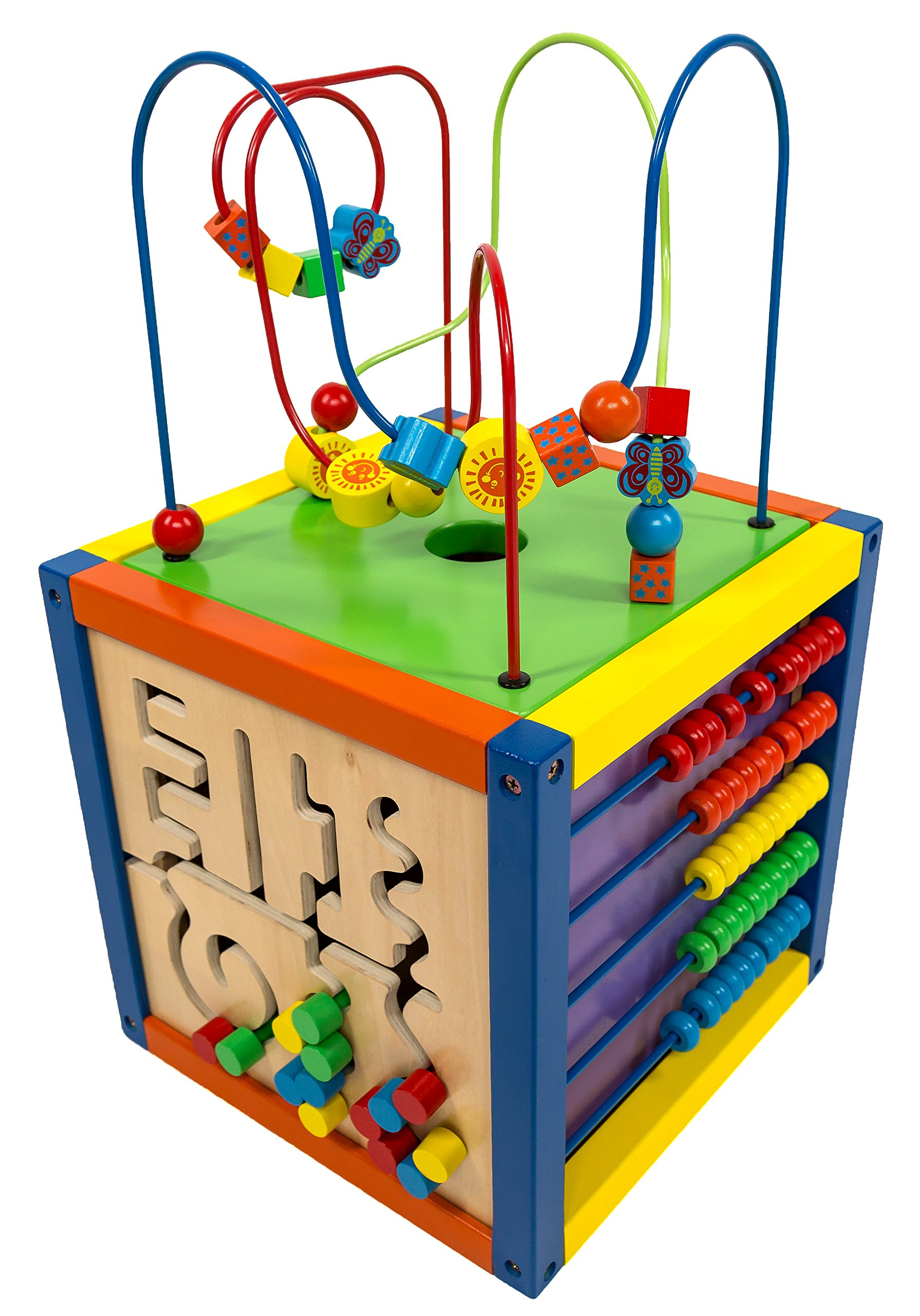 MMP Living 6-in-1 Play Cube Activity Center - Wood, 12'' - 6 Sided Including Race Track with car, Xylophone with Mallet, Clock, Abacus, Block Track and 3 Different Bead Play Options