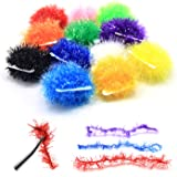 SAMSFX Fly Tying Materials Ice Chenille Tinsel Crystal Flash Chenilles Line 10 Colors Assortment Medium Size