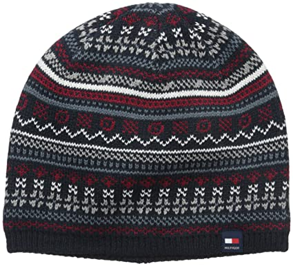 774860ccc2d1f Tommy Hilfiger Men s Fairisle Beanie Navy One Size  Amazon.in  Clothing    Accessories