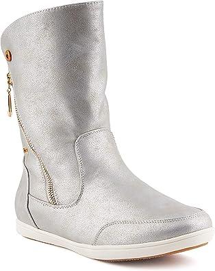 894478 Warm Gefütterte Damen Stiefeletten Leder Schlupfstiefel Boots Mode