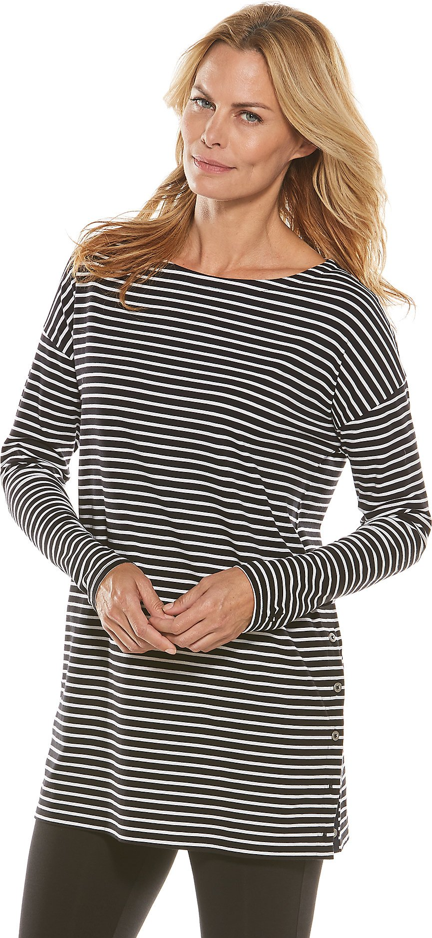 Coolibar UPF 50+ Women's Side Button Tunic Top - Sun Protective (Large- Black/White Stripe)