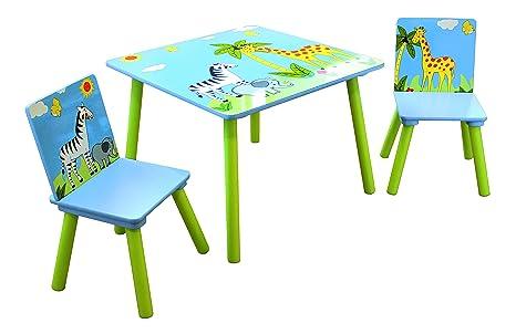 Mesa infantil de madera con dibujos de animales y dos sillas a juego ...