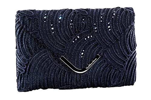 09abfc4315 GIANMARCO VENTURI Borsetta donna elegante blu pochette con tulle e strass  N553: Amazon.it: Scarpe e borse