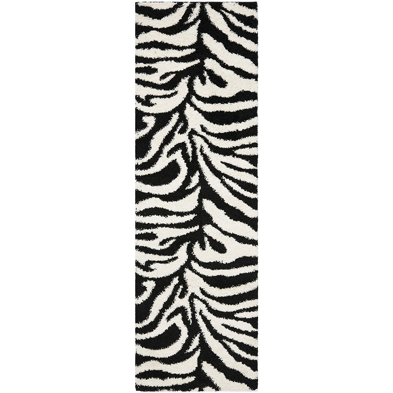 Safavieh Zebra Shag Collection SG452-1290 Ivory and Black Area Rug SG452-1290-5 53 x 76