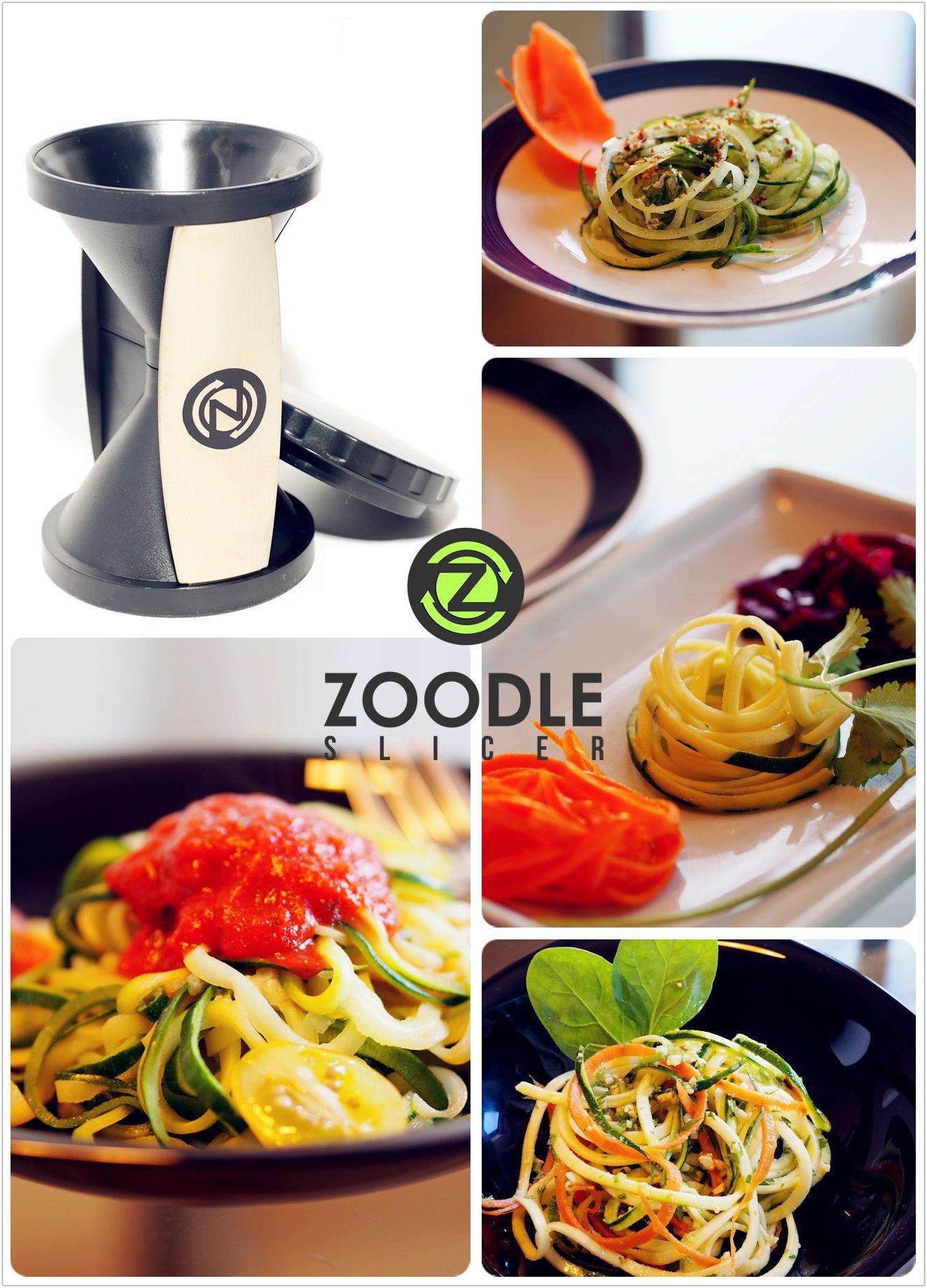 The Original Zoodle Slicer - Complete Vegetable Spiralizer Spiral Slicer Bundle (With Cleaning Brush, Peeler & eBook) by Zoodle Slicer (Image #3)
