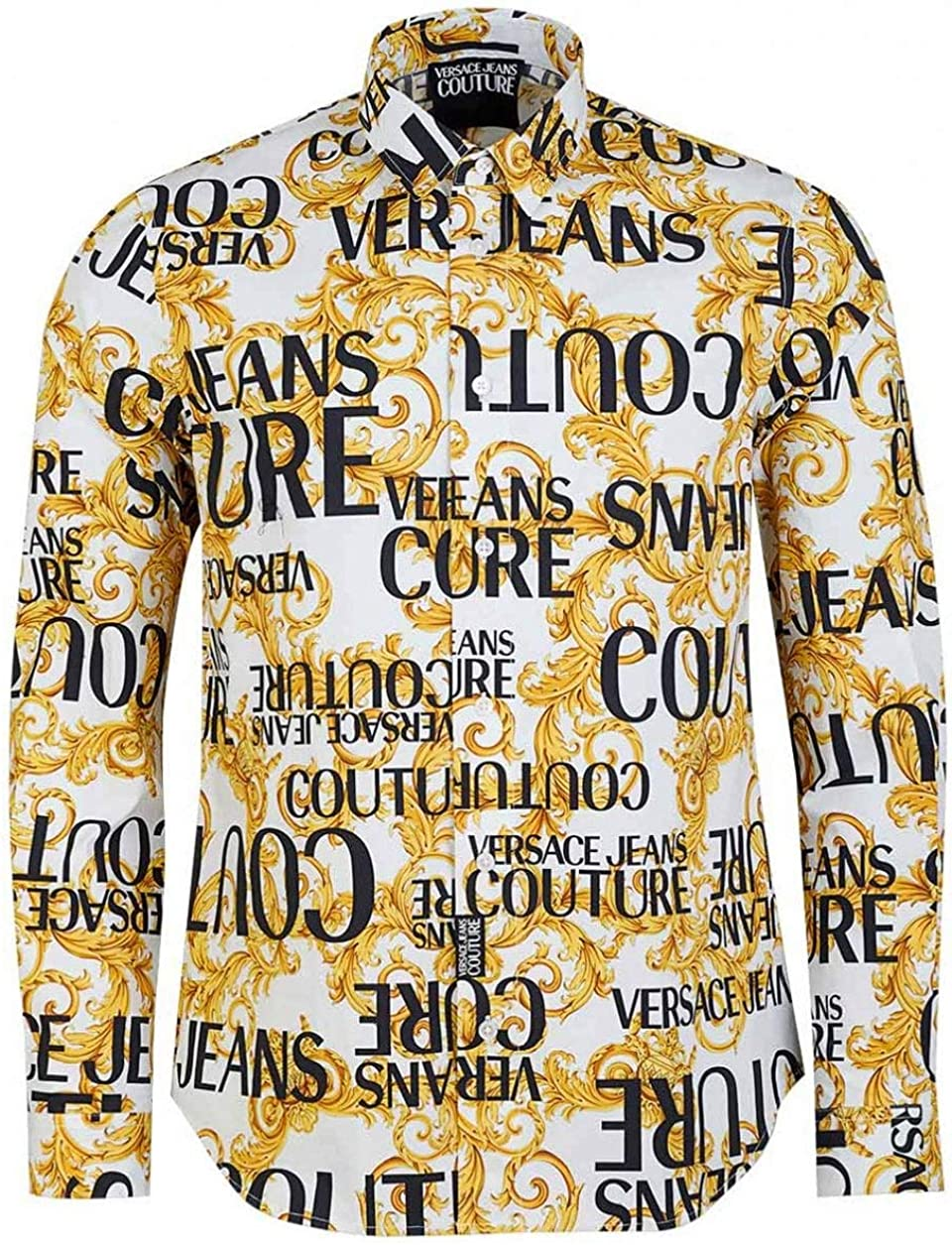 Versace Jeans Couture Hombre Camisa Logo Baroque Bianco