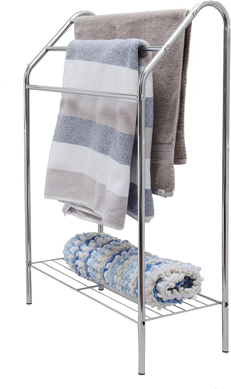 Pilot Imports Chrome Floor Standing Towel Rack Stand Rail with Lower Shelf(Floor Standing Towel Rack)