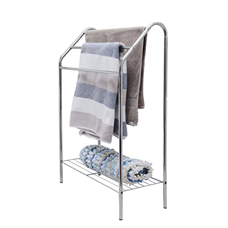 Pilot Imports Chrome Floor Standing Towel Rack Stand Rail With Lower
