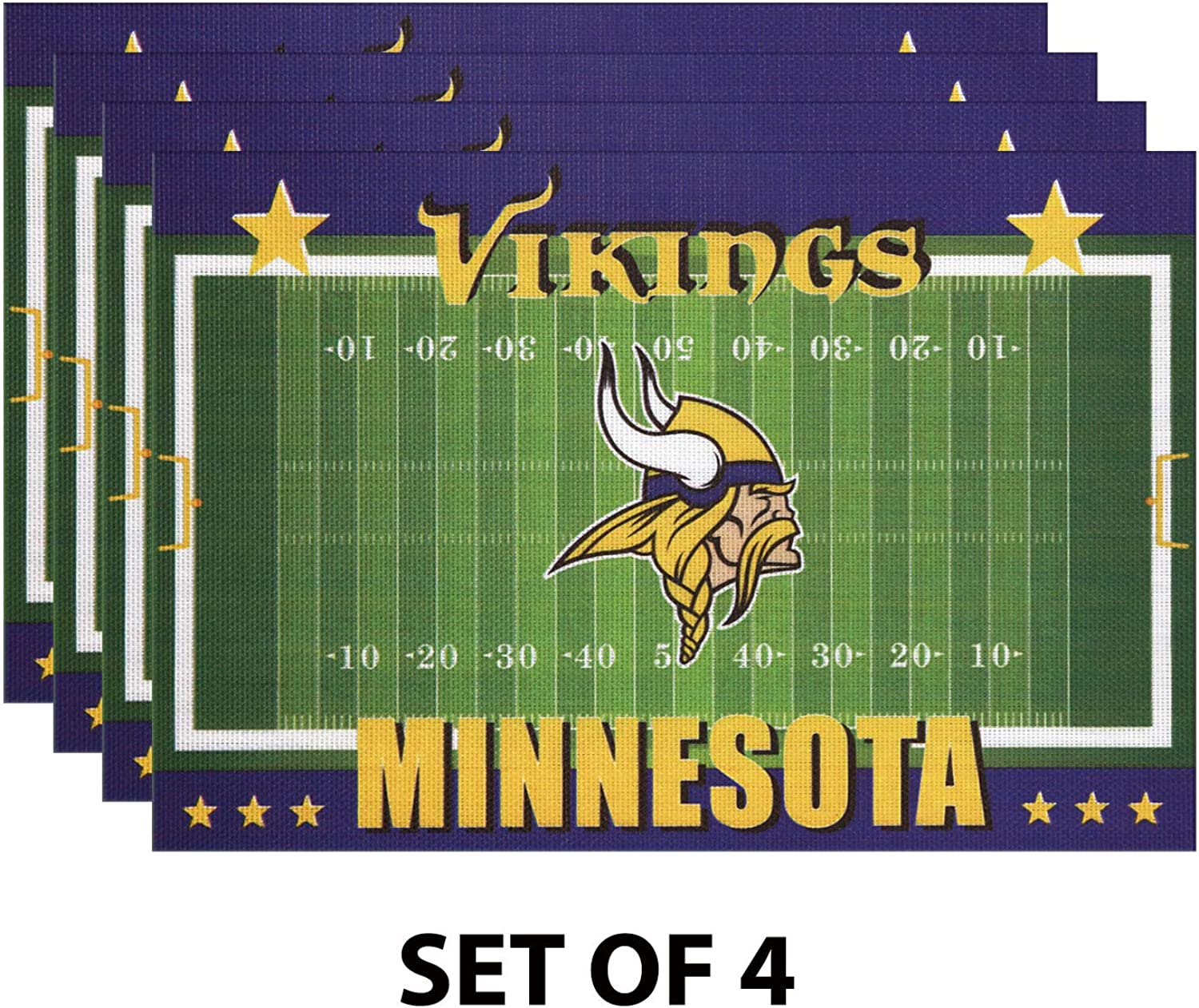 MT-Sports Football Team Logo 4 Pcs PVC Placemats Mats Pads Coasters Heat Resistant Stain Mats 12X18 Inch for Fan Kitchen Dining Coffee Table Decration