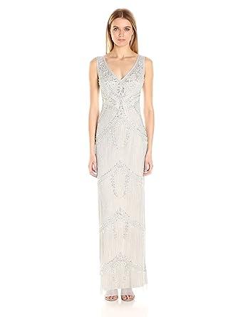 Amazon Com Adrianna Papell Women S Beaded Column Gown