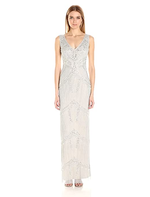 1920s Wedding Dresses- Art Deco Wedding Dress, Gatsby Wedding Dress Adrianna Papell Womens Beaded Column Gown $369.00 AT vintagedancer.com