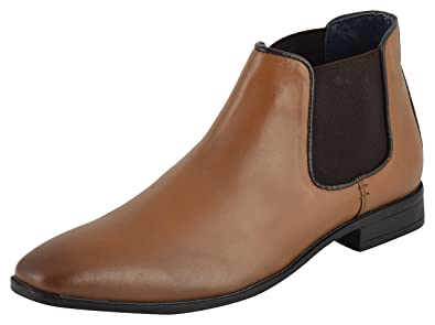 Auserio Men's Tan Genuine Leather Chelsea Boots