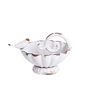 NIKKY HOME Shabby Chic Decorative Jewelry Bowl with Birds, White