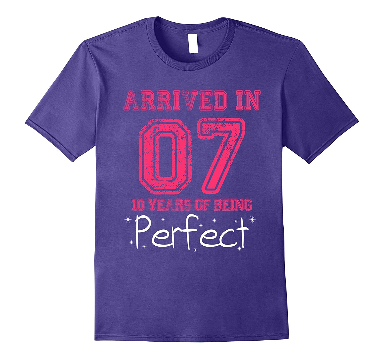 Made In 2007 Perfect 10th Birthday Girl Shirt Pink T-shirt-FL