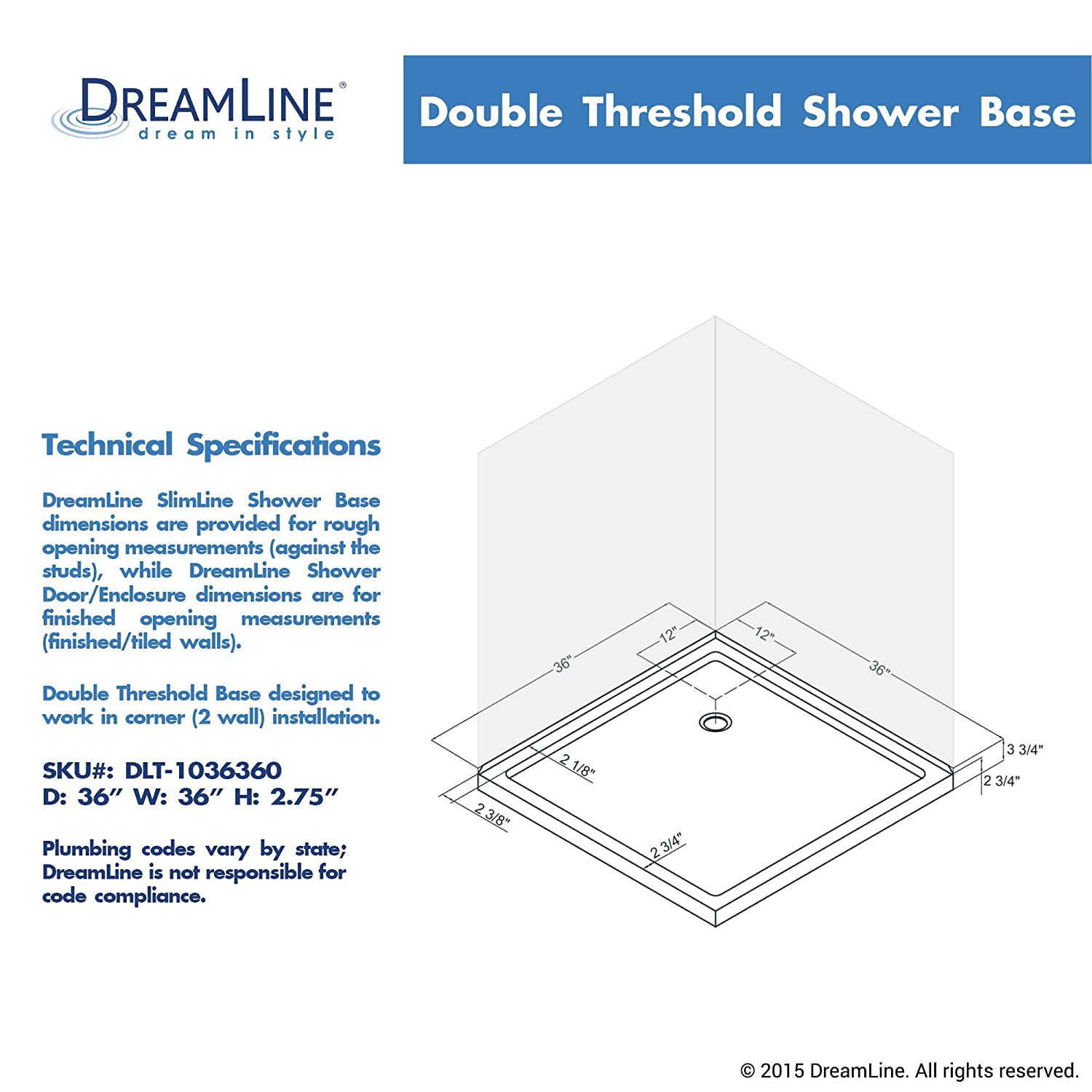 dreamline slimline 36 in x 36 in double threshold shower base dlt1036360 shower systems amazoncom - Dreamline Shower