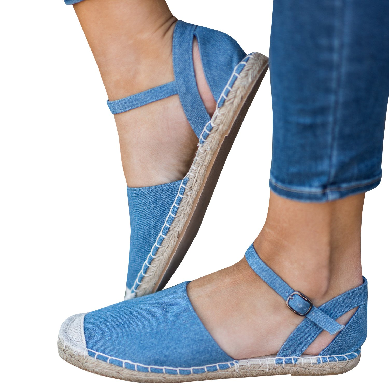 Gemijacka Damen Knouml;chel Schnalle Riemen Espadrilles Ausgeschnitten Binden Niet Klassischen Sommer Flache Sandale Schuhe  35 EU|4-blau