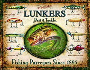"Desperate Enterprises Lunker's Lures Tin Sign, 16"" W x 12.5"" H"