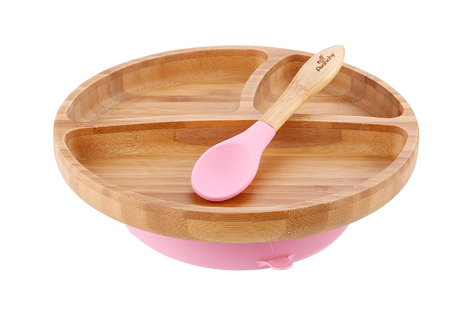 Avanchy Baby Toddler Feeding Plate Bamboo - Stay Put Suction Divided Plates Plus Baby Spoon (Pink)