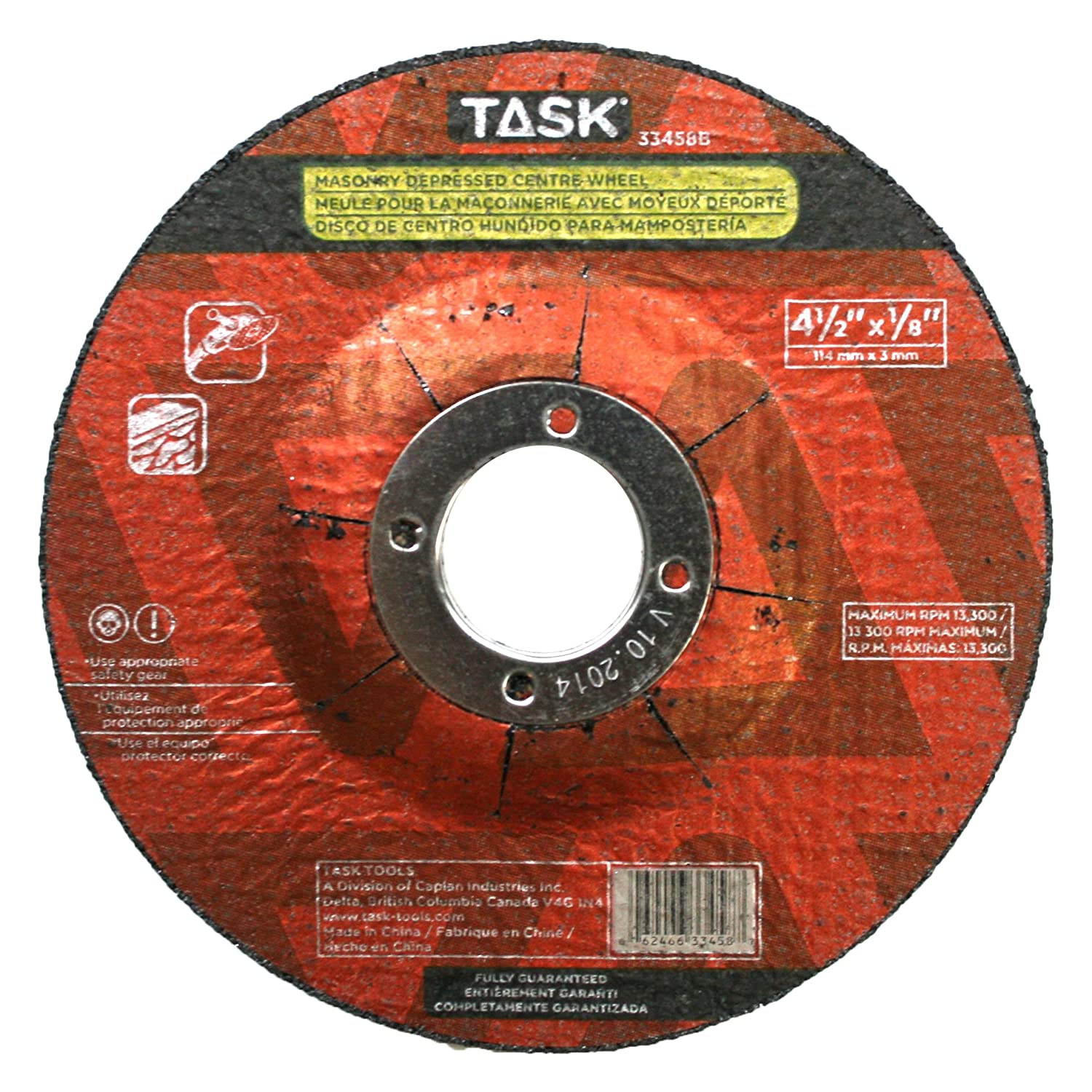 Task Tools 33458B 4-1//2-Inch by 1//8-Inch Masonry Cutting Wheel with Depressed Center LCM Team Task Tools