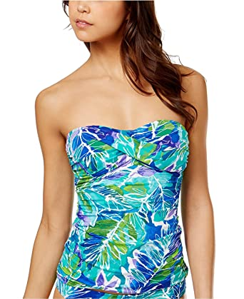 e1a7772c179 Amazon.com  Lauren Ralph Lauren Womens Tropical Print Twist Tank Bandini  Blue 14  Clothing