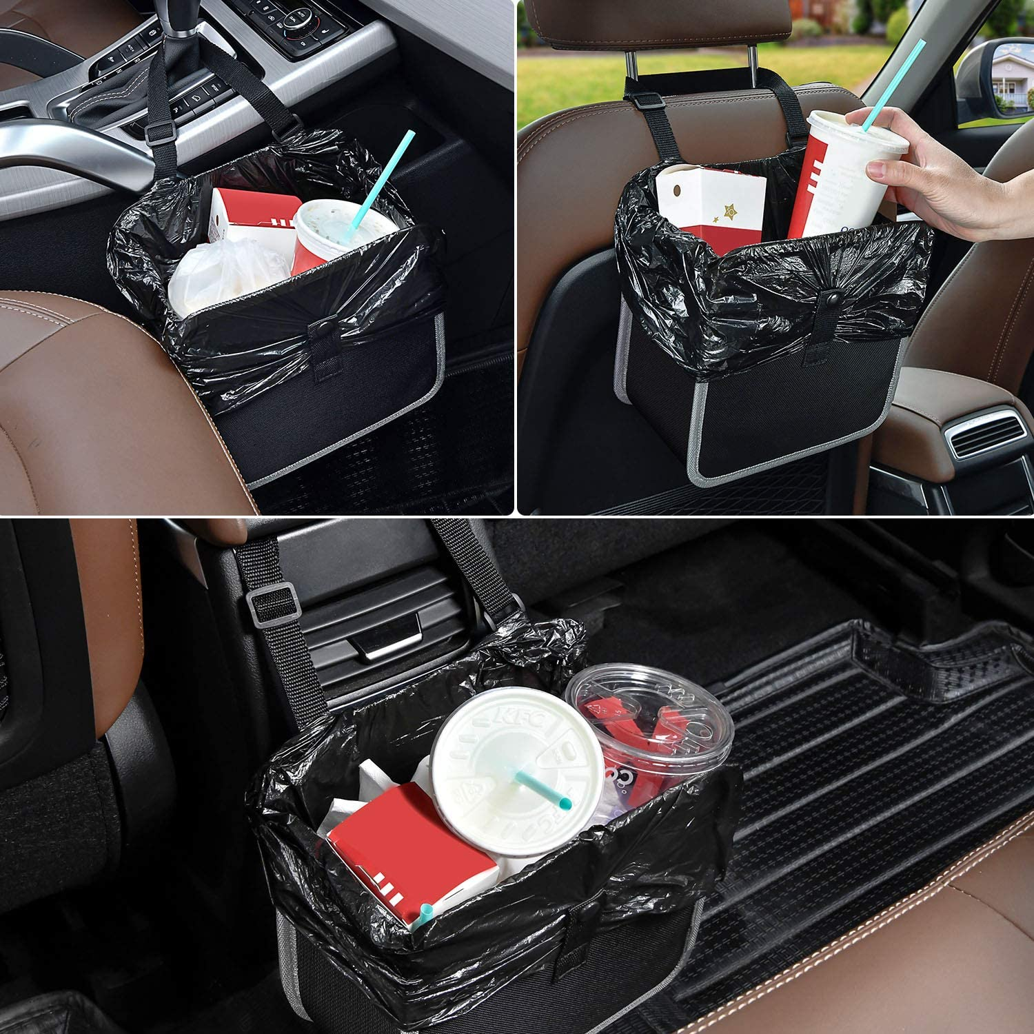 Black with Grey 2.0 Gallon Hanging Car Garbage Bin and Car Accessories Trash Can KINGSUSLAY Waterproof Car Trash Can,Foldable Garbage Can for Car