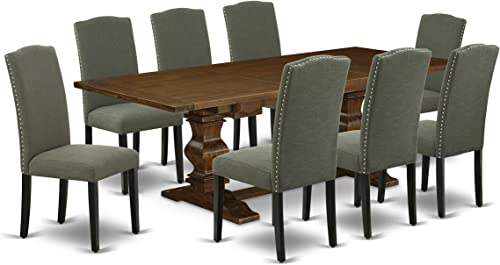 East West Furniture LAEN9-81-20 9-Pc Dining Room Set Dark Gotham Gray Linen Fabric 8 Chairs Seat and Back Table Top