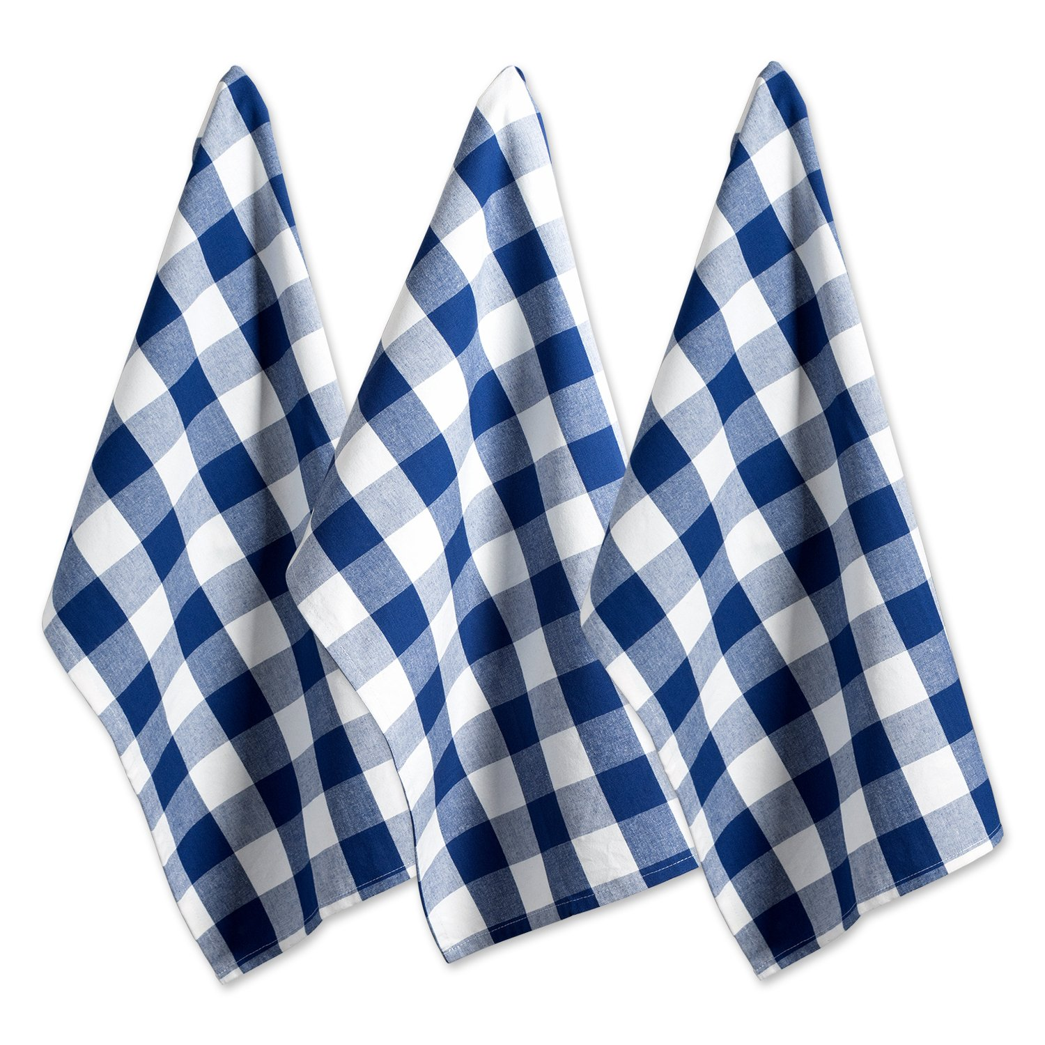"""DII Cotton Buffalo Check Plaid Dish Towels, (20x30"""", Set of 3) Monogrammable Oversized Kitchen Towels for Drying, Cleaning, Cooking, & Baking - Navy & Cream"""