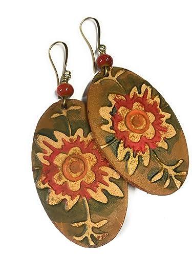 amazon com boho bold leather flower earrings oval with orange
