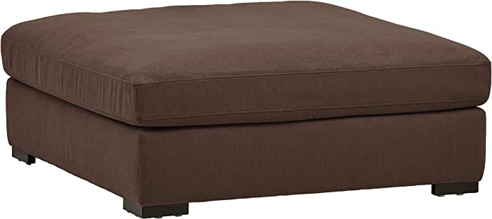 "Stone & Beam Lauren Down Filled Oversized Ottoman with Hardwood Frame, 46.5""W, Chocolate"