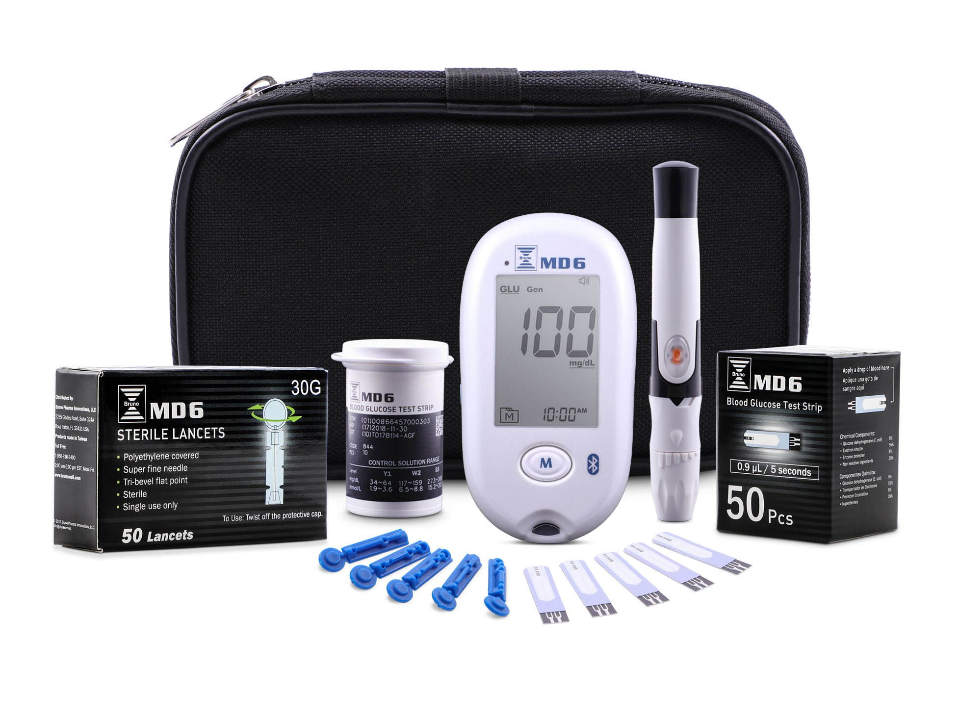 Bruno Pharma MD6 Diabetes Blood Glucose Monitor Kit | Complete Diabetic Meter Testing Kit with Travel Case, Lancing Device, 50 Blood Sugar Test Strips + 50 Lancets | Fast Results with 5 Year Warranty