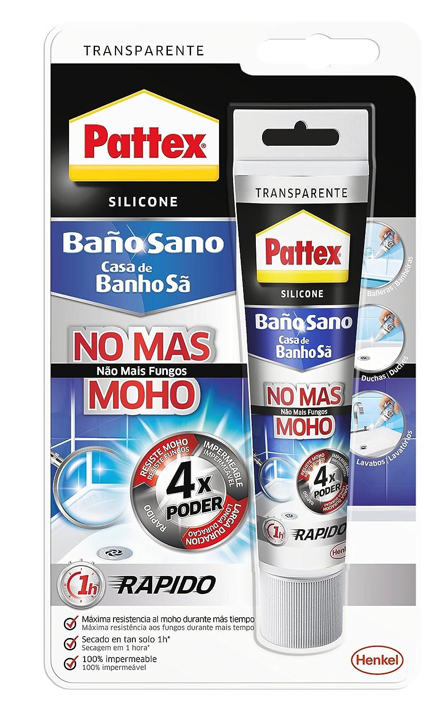 Pattex Baño Sano No Más Moho, silicona antimoho e impermeable, silicona transparente duradera para cocina y baño, resistente silicona sanitaria, 1 tubo x 50 ml: Amazon.es: Industria, empresas y ciencia