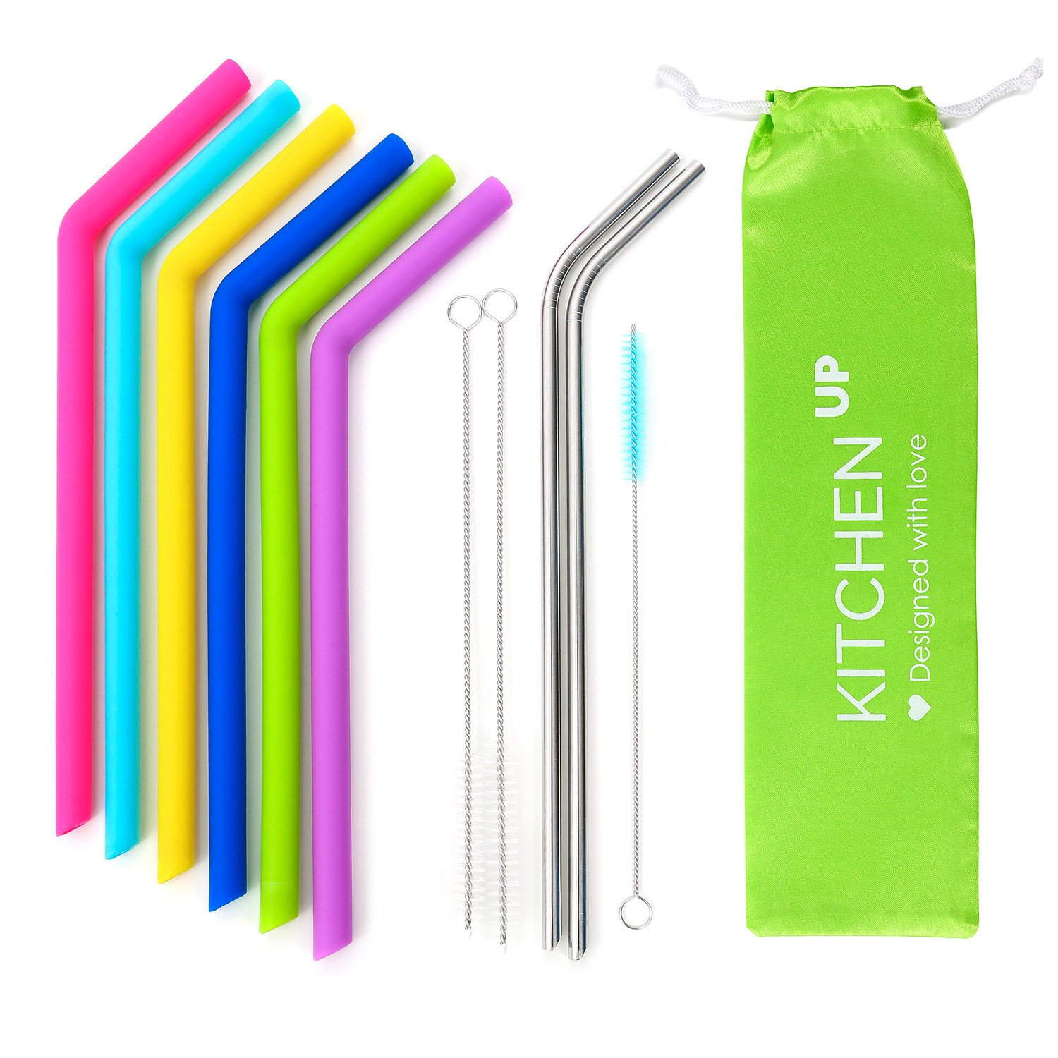 Big Silicone Straws for 30 oz Tumbler Yeti/Rtic Complete Bundle - Reusable Silicone Straws Set of 6 - Stainless Steel Straws Extra Long - Brushes and Storage Pouch Included by Kitchen Up (Image #2)