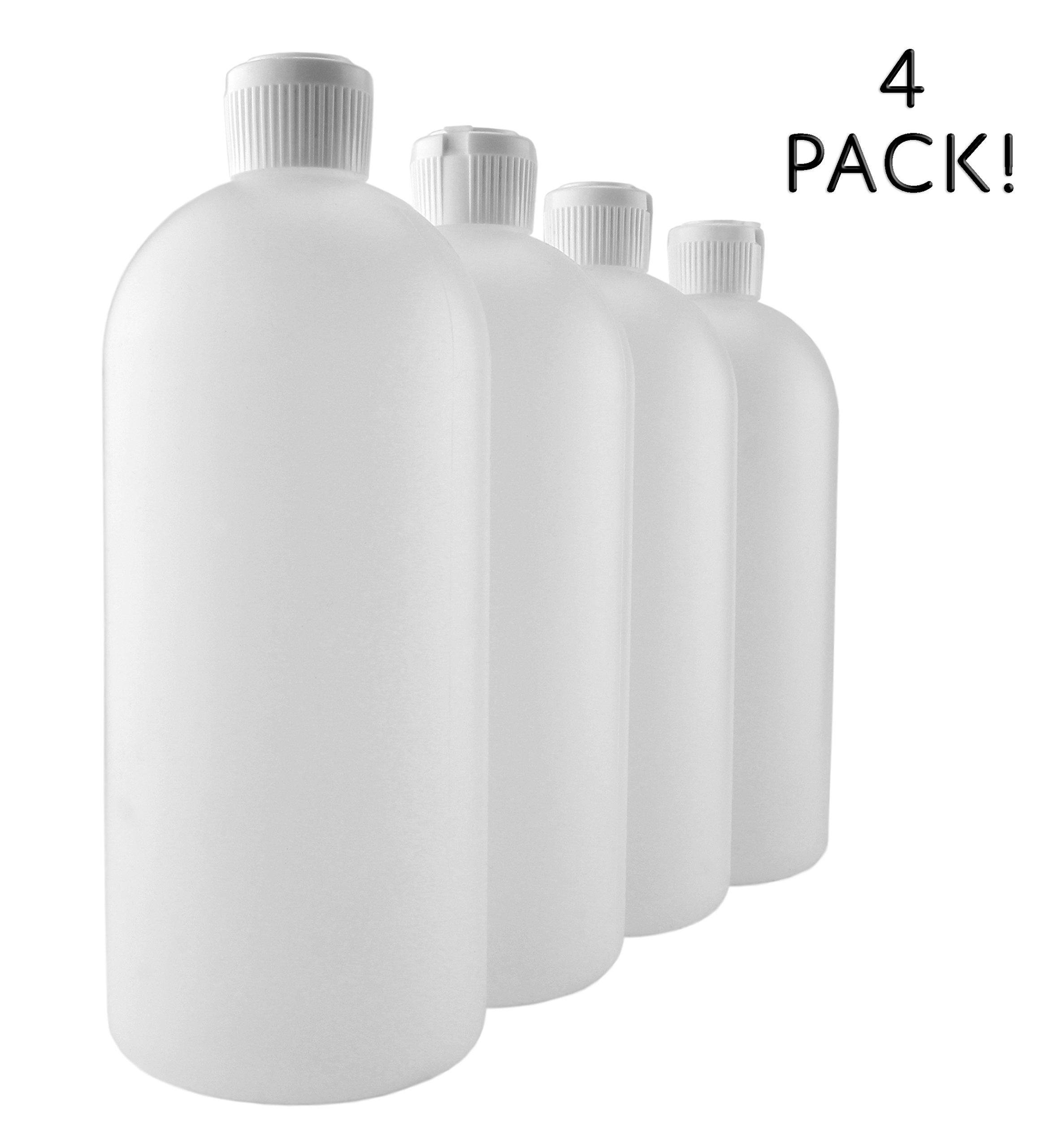 32-Ounce Flip Top Plastic Squeeze Bottles (4-Pack); Spout Style Tops
