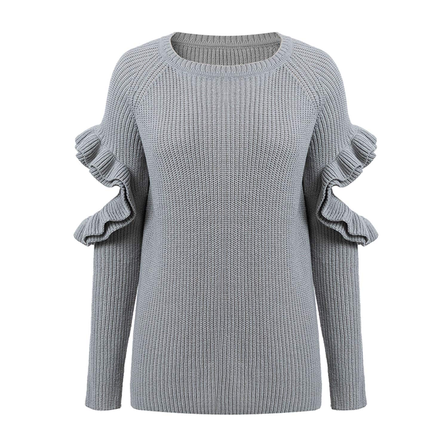 sensitives Elegant Ruffles Winter Sweater Pullover Women Hollow Out Long Sleeve Loose Pullover