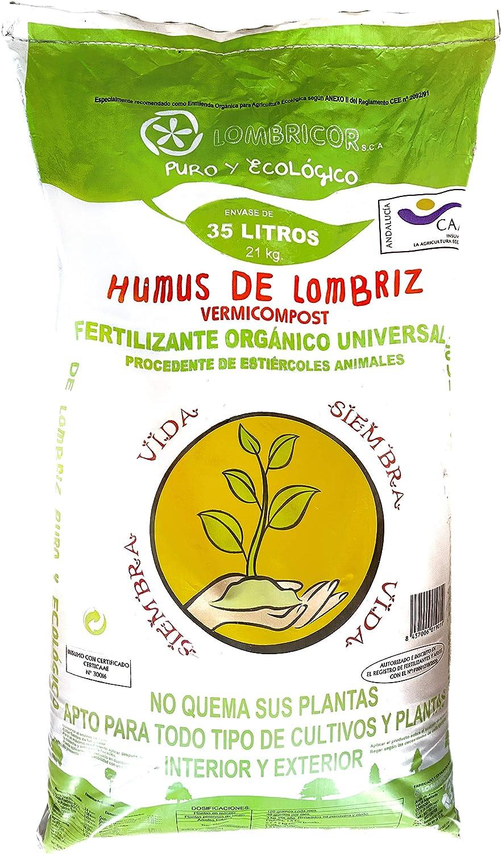 LOMBRICOR Humus de Lombriz Ecológico 21KG (35 L). Abono para Todo Tipo de Plantas y Cultivos.