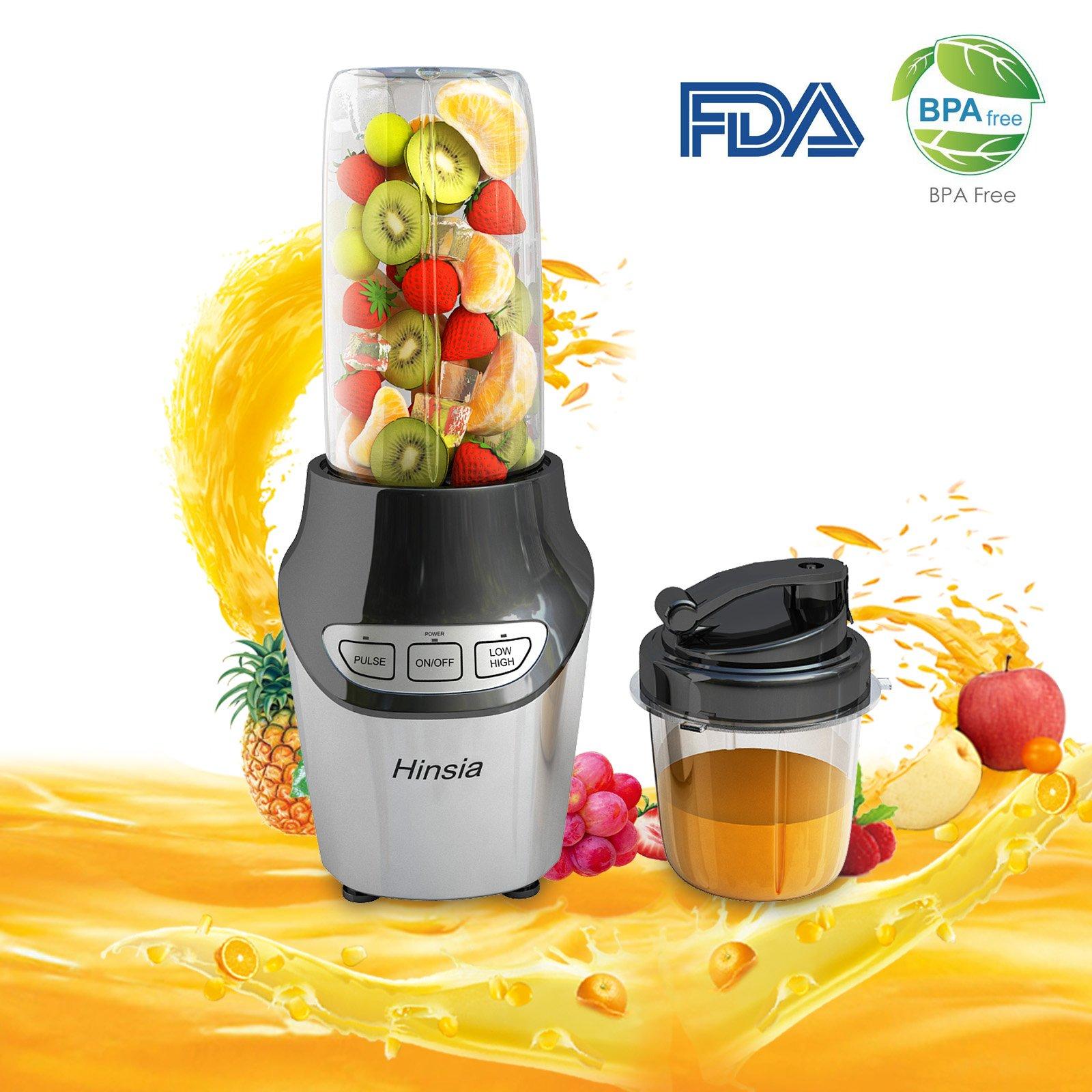 Hinsia FDA-approved Smoothie Blender 1000 Watt BPAfree Processor Juicer Blender and Smoothie Maker High Power Blender Shakes
