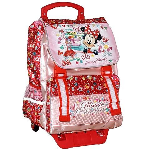 e0241f147d Zaino Trolley Scuola Elementare MINNIE Disney ESTENSIBILE Cartella Bambina  con Ruote