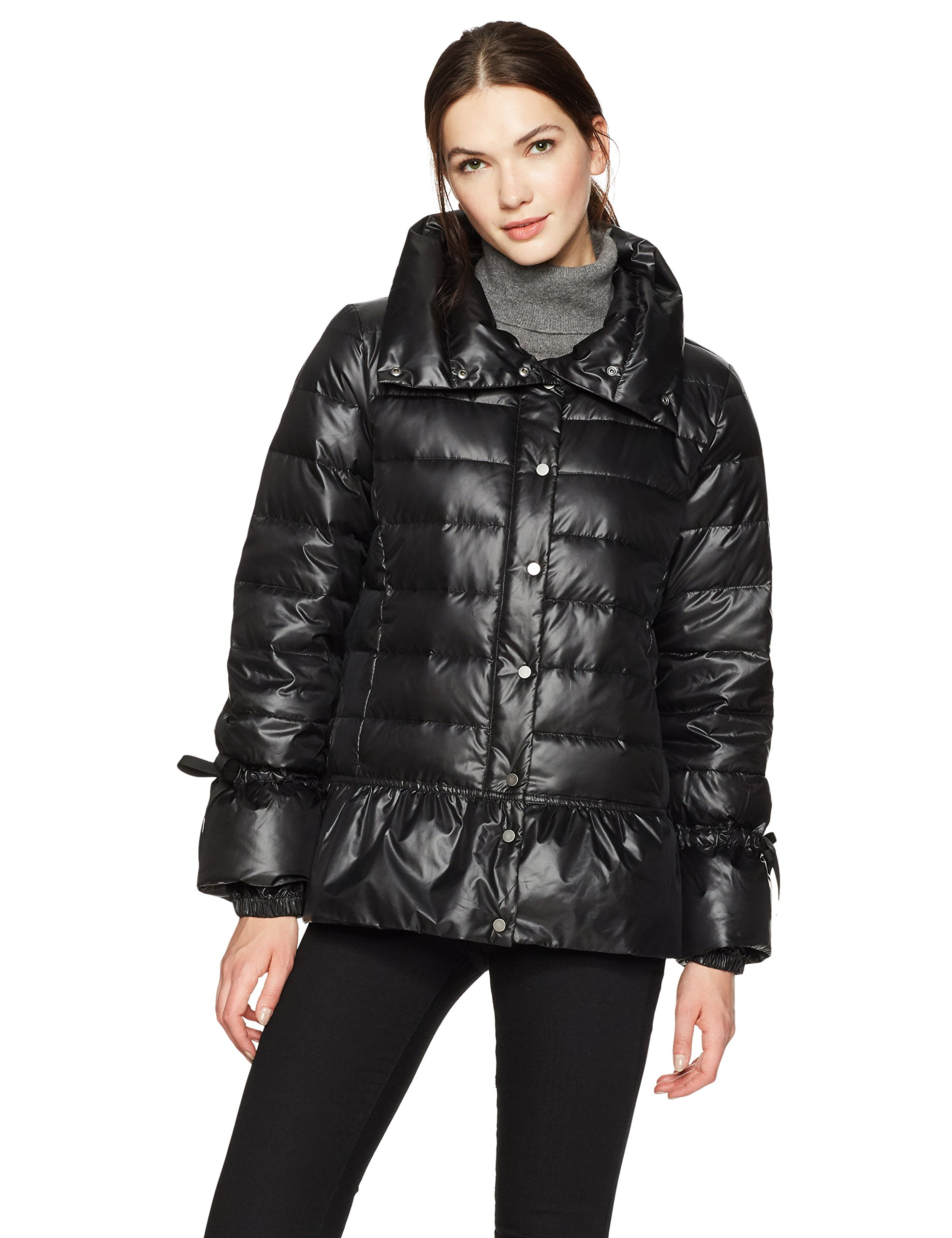 HAVEN OUTERWEAR Women's Funnel Neck Down Jacket with Peplum, Black, Small