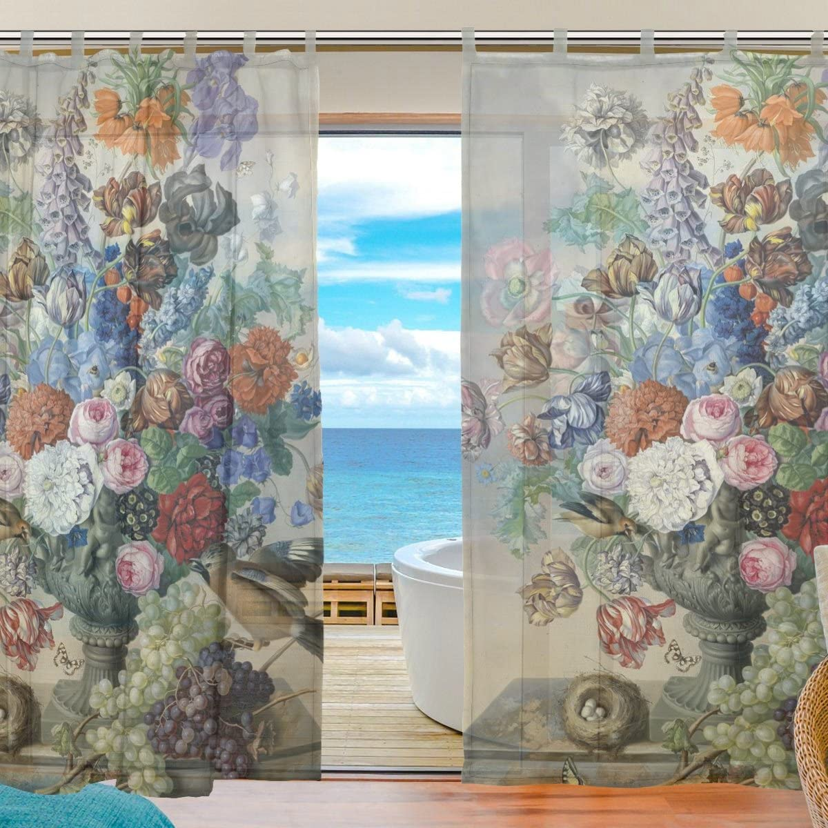 ALAZA 2PCS Window Decoration Sheer Curtain Panels,Euro Style Art Vintage Floral Oil Painting,Window Gauze Curtains Living Room Bedroom Kid s Office Window Tie Top Curtain 55×78 inch Two Panels Set