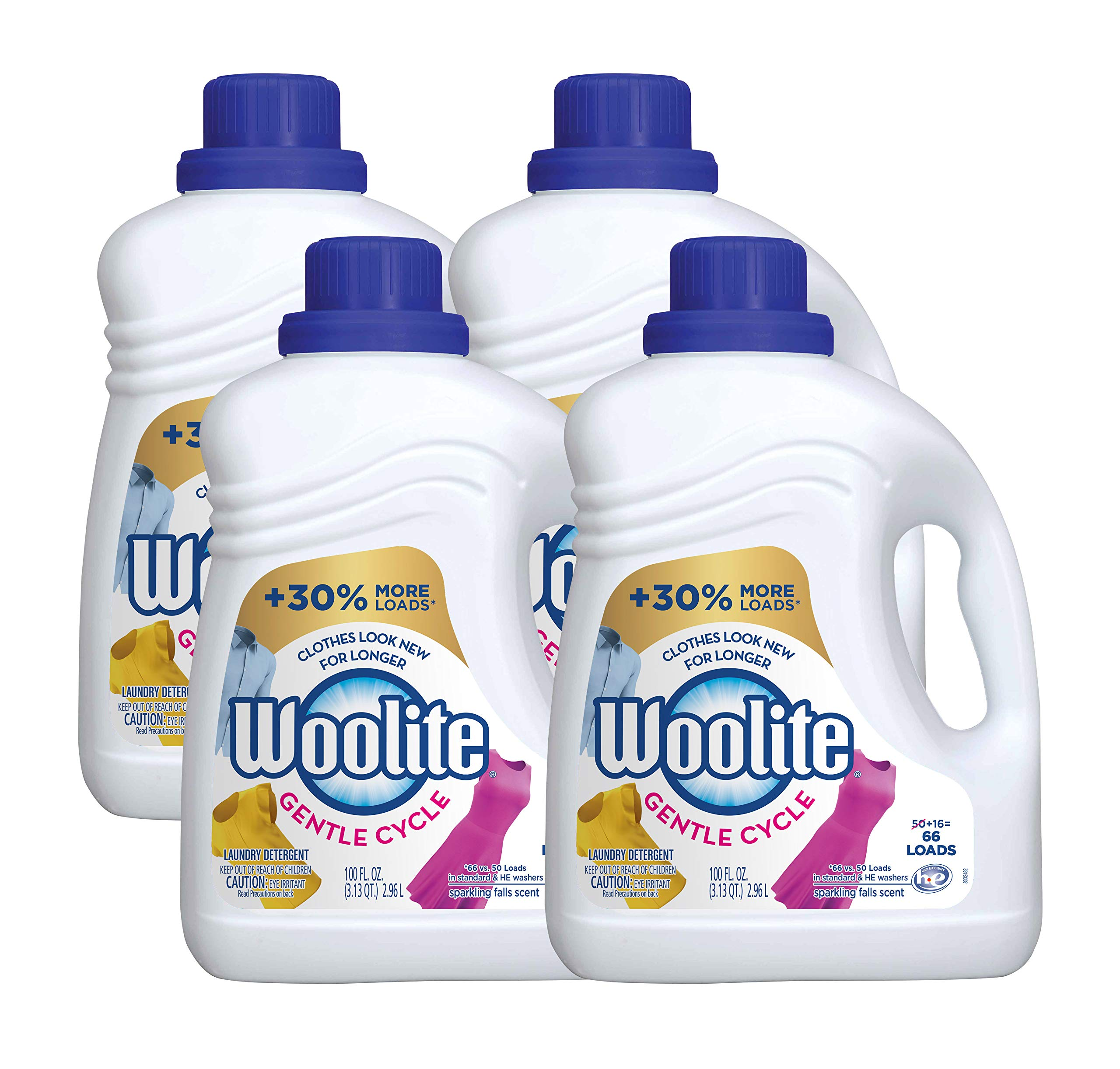 Woolite 0-62338-98113-0 Gentle Cycle Liquid Laundry Detergent with Color Renew, HE and Regular Washers, 400 fl. oz, 6.25 lb. (Pack of 4) by Woolite
