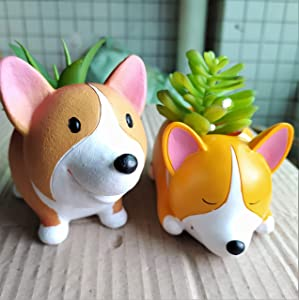 2 Pcs Cute Animal Corgi Shaped Cartoon Home Decoration Succulent Vase Flower Plant Pots (Plant Not Included)