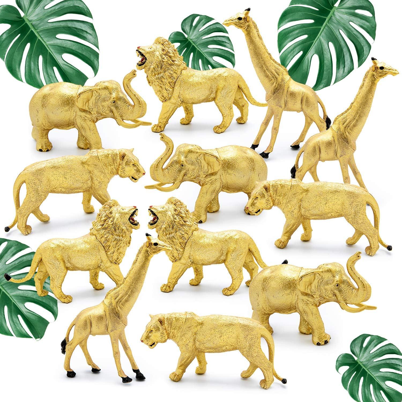 12 Jumbo Metallic Gold Plastic Safari Animal Set - Different Varieties of Zoo Animals, 3 Elephant 3 Giraffe 3 Lion 3 Tiger PVC, 4-6 Inches