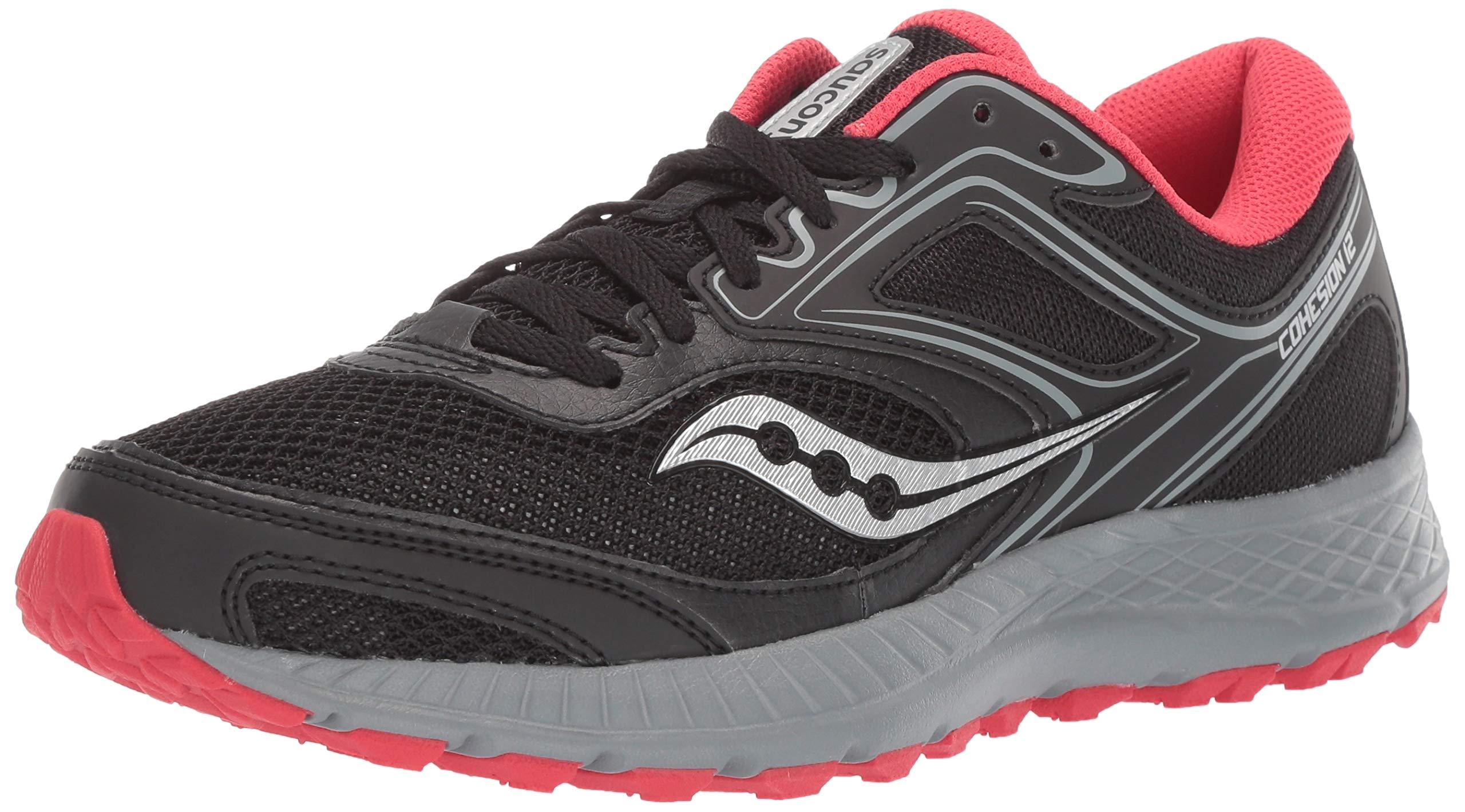Saucony Women's VERSAFOAM Cohesion TR12 Trail Running Shoe, Black/Grey/Hibiscus, 5 M US