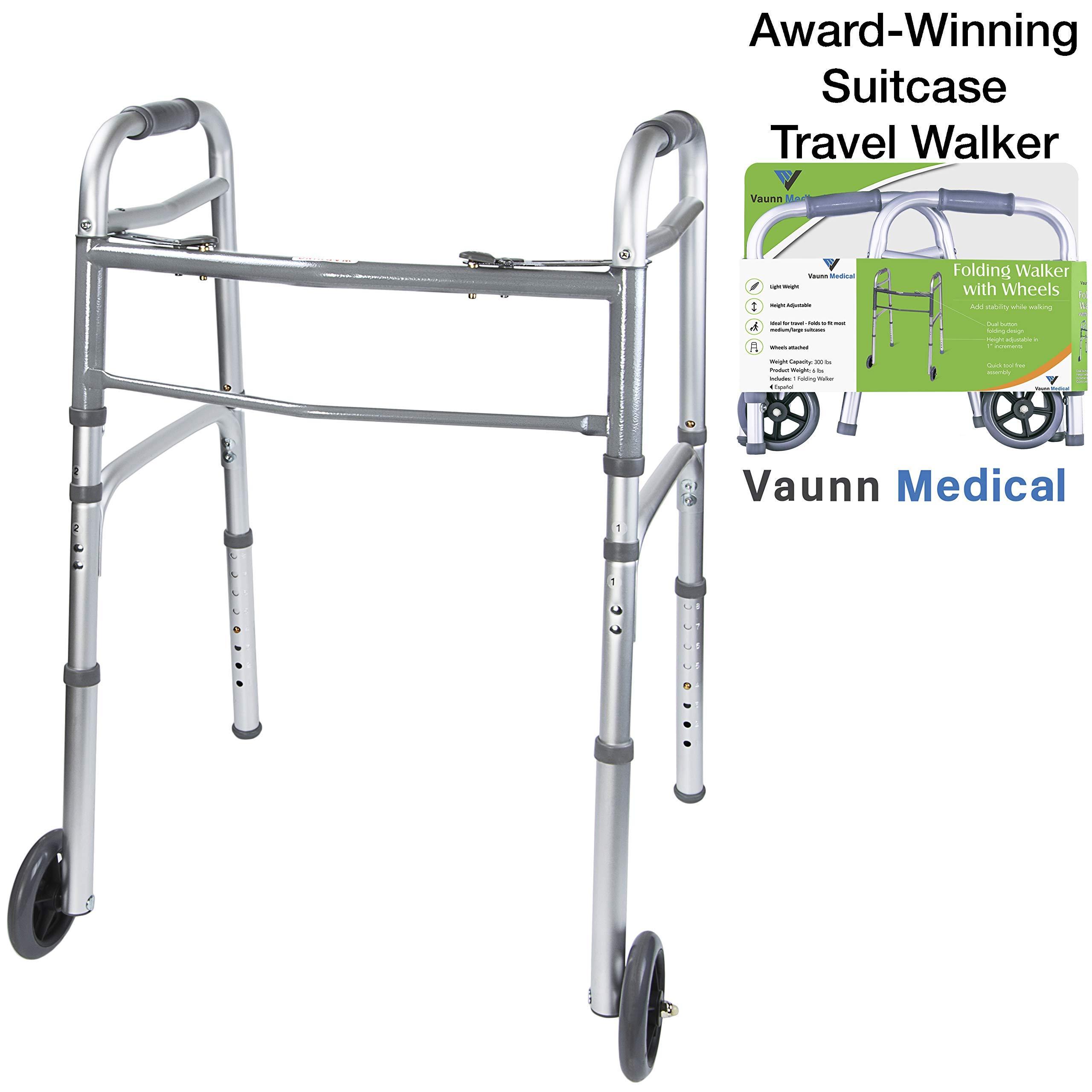 Vaunn Medical Two Button Folding Walker with Wheels, Adjustable Height and Detachable Legs (Renewed) by Vaunn