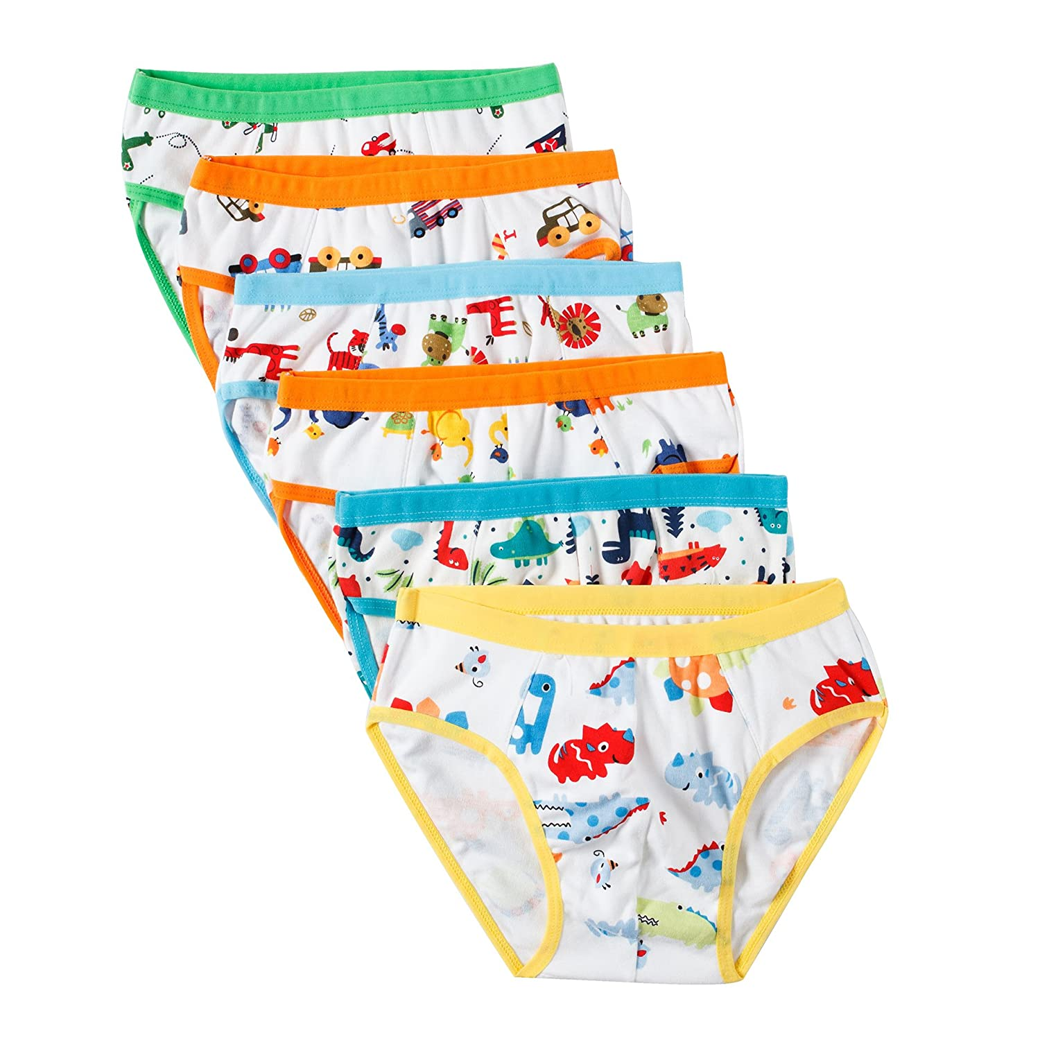 BOBO Kids Little Boys Car Briefs Underwear Toddler (Pack Of 6)