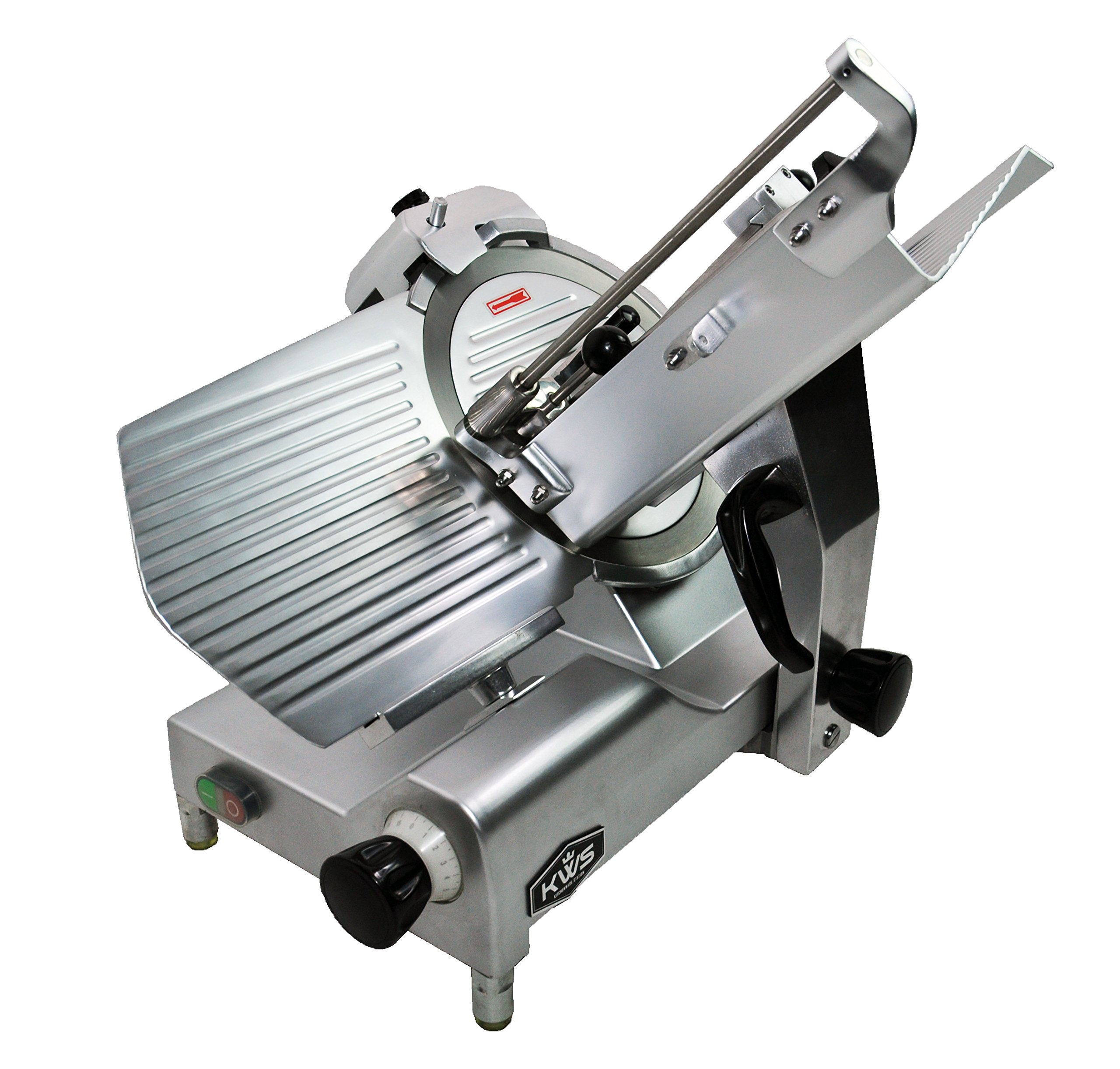 KWS Premium 450w Electric Meat Slicer 12'' Stainless Blade With Commercial Grade Carriage, Frozen Meat/ Cheese/ Food Slicer Low Noises