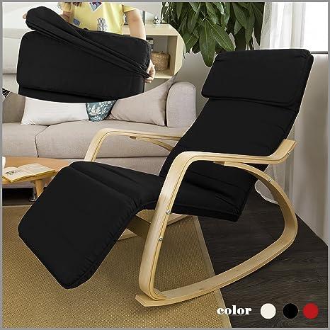 SoBuy® Cómodo Relax - Mecedora con reposapiés diseño, sillón ...