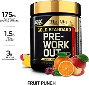 OPTIMUM NUTRITION Gold Standard Pre-Workout with Creatine, Beta-Alanine, and Caffeine for Energy, Keto Friendly, Fruit Punch, 30 Servings